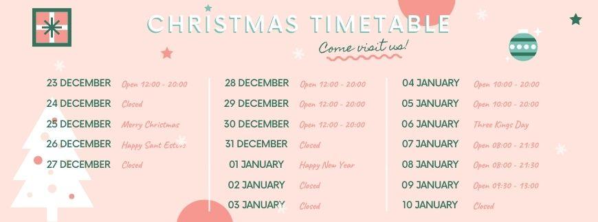 Christmas timetable 2020   Oxford House Barcelona