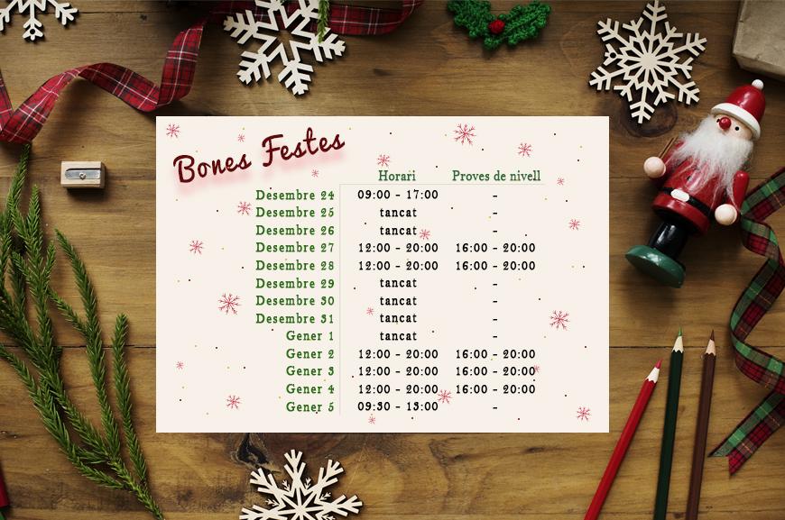 Horari de nadal 18/19 | Oxford House Barcelona