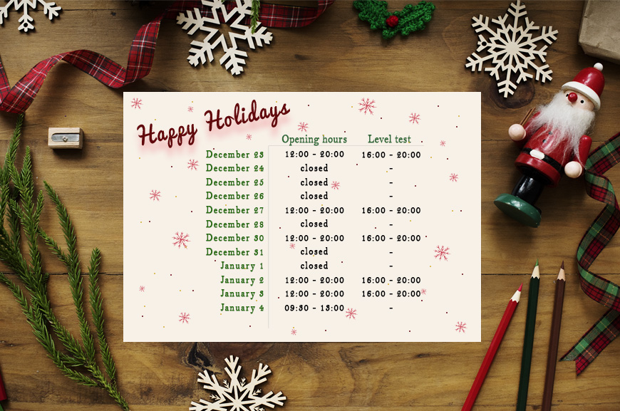 Christmas opening hours 2019/20 | Oxford House Barcelona