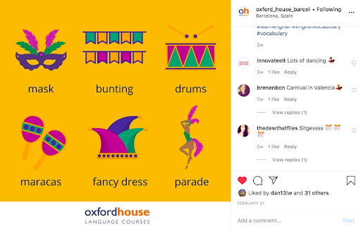 Oxford House Instagram account | 10 Ways to learn English at Home