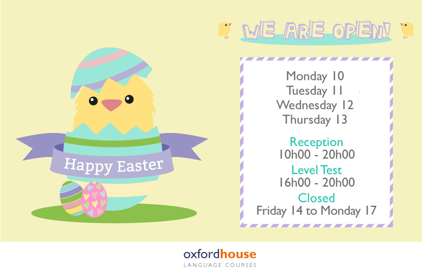 Easter Week Timetable at Oxford House Barcelona, a Spanish language school
