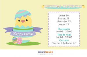 Horario de Semana Santa en academia de inglés Oxford House Barcelona