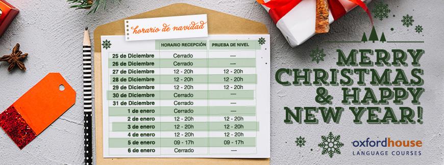 Oxford House Barcelona - Horario de Navidad